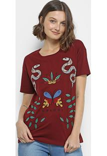 Camiseta Colcci Bordado Borboleta E Cobras Feminina - Feminino-Vinho