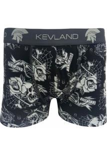 Cueca Kevland Tattoo Caveiras E Flores Kev243 Est - Masculino