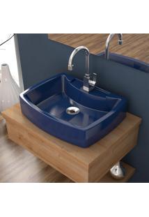 Cuba De Apoio P/Banheiro Compace Aria Rt50W Retangular Azul Escuro