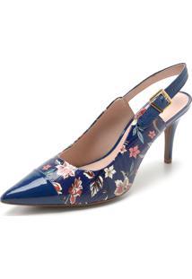 Scarpin Couro Jorge Bischoff Floral Azul