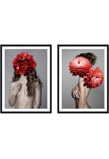 Quadro 67X100Cm Freya Mulher Com Flores Vermelhas Nórdico Moldura Preta Com Vidro