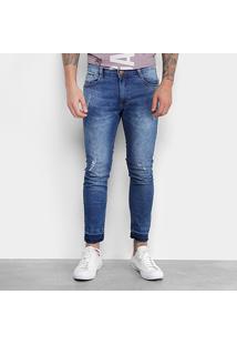 Calça Jeans Skinny Gangster Marmorizada Masculina - Masculino-Azul