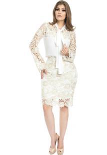 Blusa Miss Lady Crepe Off-White Guipir Luxo Bordado - Kanui