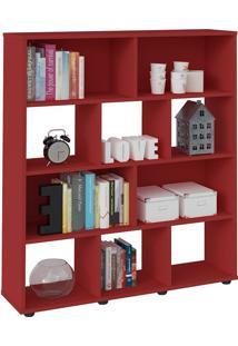 Estante Para Livros E Objetos Vermelho Com 10 Nichos - Artely