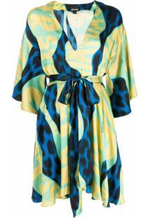 Just Cavalli Vestido De Cetim Com Estampa Gráfica E Amarração Na Cintura - Azul