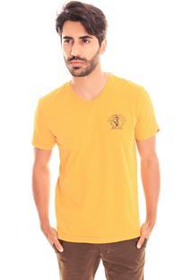 Camiseta Convicto Gola V Estampada Amarelo