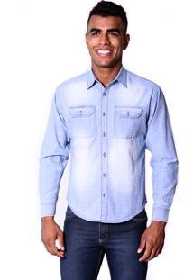 Camisa Jeans Zimpool Slim Branca Com Azul Claro