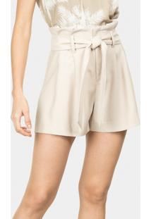 Shorts Cintura Alta Com Cinto Bege Papiro - Lez A Lez