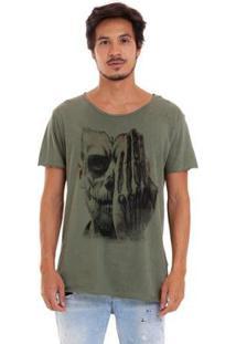 Camiseta Estonada Corte À Fio Catrina Olhos Masculina - Masculino-Verde Militar