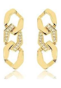 Brinco Lys Lazuli Elo Groumet Cravejado Banhado Ouro 18K Feminino - Feminino-Dourado