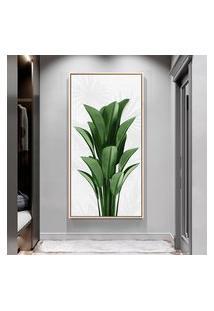 Quadro 100X50Cm Folhas Tropicais Plantas Jardim Canvas Em Moldura Flutuante Filete