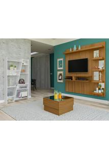 Sala De Estar Com Painel Para Tv Até 50 Polegadas Estante 10 Nichos E Mesa De Centro Com Tampo Espelhado Artely Freijó/Branco
