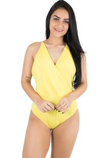Body Diluxo Decotado Amarelo Tecido Bolha Amarelo