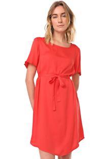 Vestido Cantão Curto Satin Vermelho