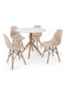 Conjunto Mesa De Jantar Maitê 80Cm Branca Com 4 Cadeiras Charles Eames - Nude