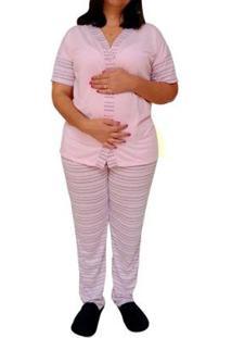 Pijama Longo Linda Gestante Amamentação Com Botões Do 38 Ao 48 Pós Operatório - Feminino-Rosa
