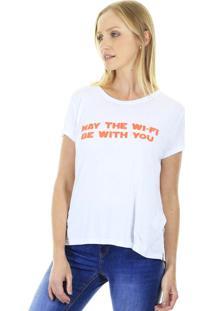 Camiseta Manga Curta T-Shirt Wifi Com Fenda Lateral Branca Aha