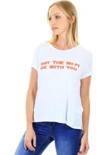 Camiseta Manga Curta T-Shirt Wifi Com Fenda Lateral Branca