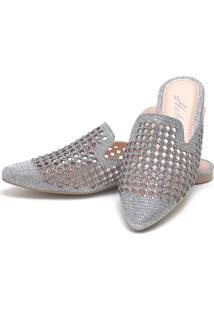 Sapatilha Mulle Bico Fino Sb Shoes Ref.10106L Prata Velha - Prata Velho - Feminino - Glitter - Dafiti