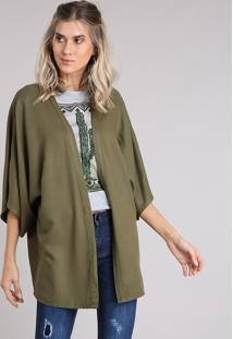 Kimono Feminino Amplo Manga Curta Verde Militar - Único