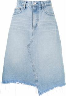 Nobody Denim Saia Jeans Midi Com Lavagem - Azul