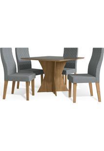 Mesa Para Sala De Jantar Com 4 Cadeiras Ba28-Kappesberg - Freijo / Cinza