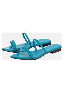 Sandália Rasteira Feminina Bico Fino Azul