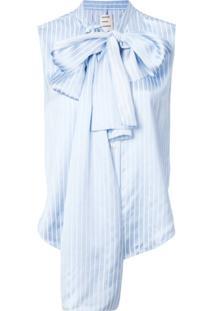 Maison Rabih Kayrouz Blusa Listrada Com Detalhe De Laço - Azul