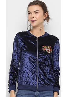 Jaqueta Bomber Lily Fashion Veludo Bordado Tigre Feminina - Feminino