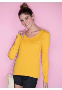 Blusa Básica Decote V Amarelo Mostarda