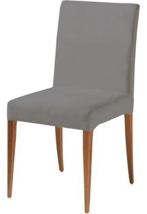 Cadeira Flox Assento Cor Cinza Com Base Madeira Nogal - 46527 - Sun House
