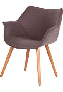 Cadeira Monique Assento Pu Marrom Escuro Com Base Palito - 45037 - Sun House