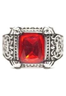 Anel Pedra Vermelha Resinada Em Inox- Sir.W