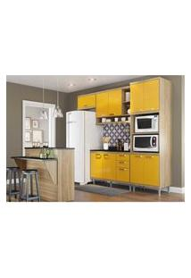 Cozinha Completa Multimóveis Com 8 Peças Sicília 5844 Argila/Amarelo