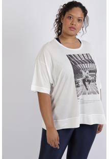 Blusa Feminina Plus Size Bailarina Manga Curta Decote Redondo Off White