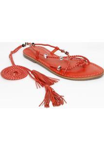 Sandália Rasteira Com Amarração - Vermelhaschutz
