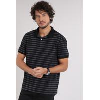 Home Roupas Masculinas Camisas Pólo Reserva. Polo Masculina Listrada Manga  Curta Em Algodão + Sustentável Preta b256627e0e201