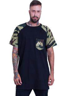 Camiseta Raglan Stooge Longline Camuflada