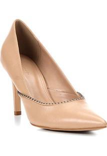 Scarpin Couro Shoestock Salto Alto Glam - Feminino-Bege