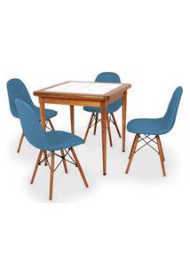 Conjunto Mesa De Jantar Em Madeira Imbuia Com Azulejo + 4 Cadeiras Botonê - Turquesa