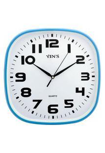 Relógio De Parede Retangular Sortido - 30Cm - Números Grandes Azul