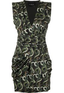 John Richmond Short Snake Print Dress - Dourado