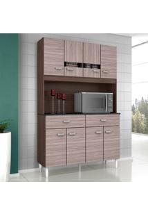 Armário P/ Cozinha 8 Portas 2 Gavetas - Poquema Kit Manu 8P - Amêndoa/Capuccino