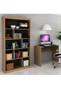Escrivaninha E Estante Para Escritório-Ho-2953-Hecol - Avela / Onix