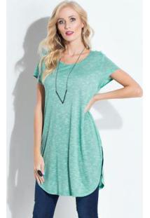 Blusa Verde Com Barra Arredondada Quintess