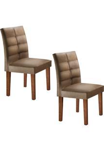 Conjunto Com 2 Cadeiras Viggor Chocolate E Jacquard