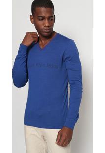 "Suéter ""Calvin Klein® Jeans®""- Azul Royal & Vermelhocalvin Klein"