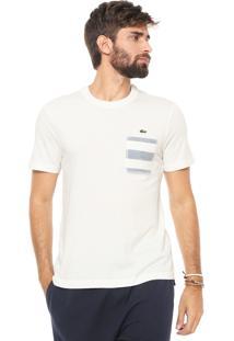 Camiseta Lacoste Bolso Listrado Off-White