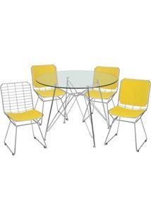 Conjunto De Mesa Com 4 Cadeiras Melissa Corino Amarelo E Cromado