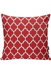 Capa De Almofada Abstrata- Vermelha & Branca- 45X45Cstm Home